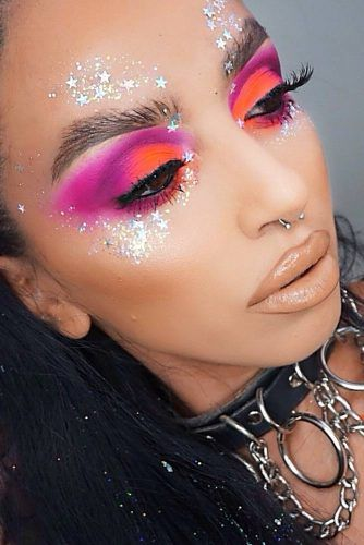 Bright Eyeshadow Makeup With Glitter #cutcrease #glitter