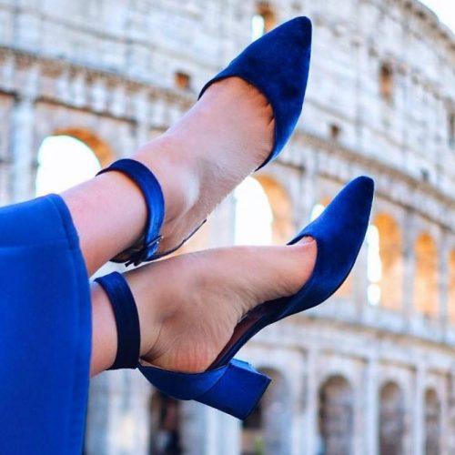 Cobalt Blue Block Shoes Design #blueshoes