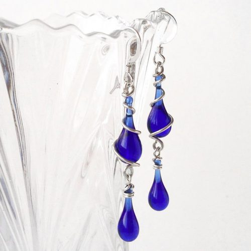 Amazing Earrings Designs In The Blue Cobalt Color picture 1