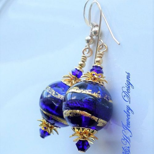 Amazing Earrings Designs In The Blue Cobalt Color picture 2