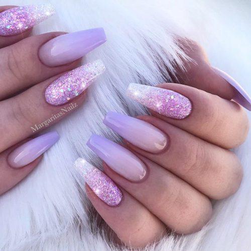 Glitter Lilac Nails Design #ombrenails #glitternails