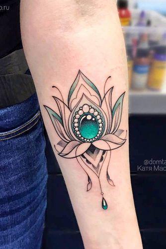 Arm Lotus Flower Tattoo Design #armtattoo