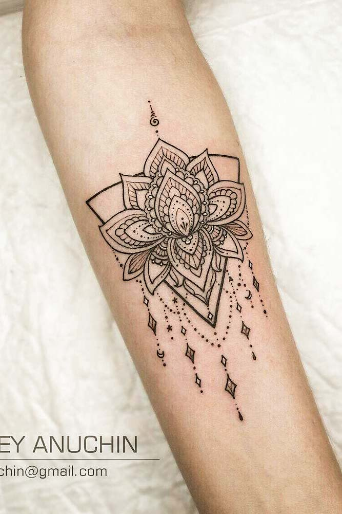 Mandala Lotus Tattoo Design #armtattoo #mandalatattoo