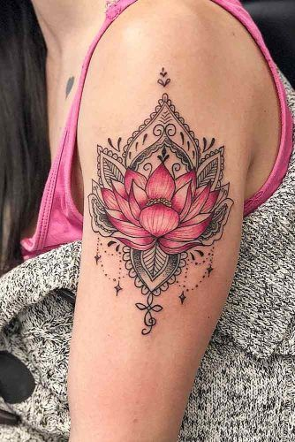 Mandala Tattoo With Pink Lotus Flower #armtattoo