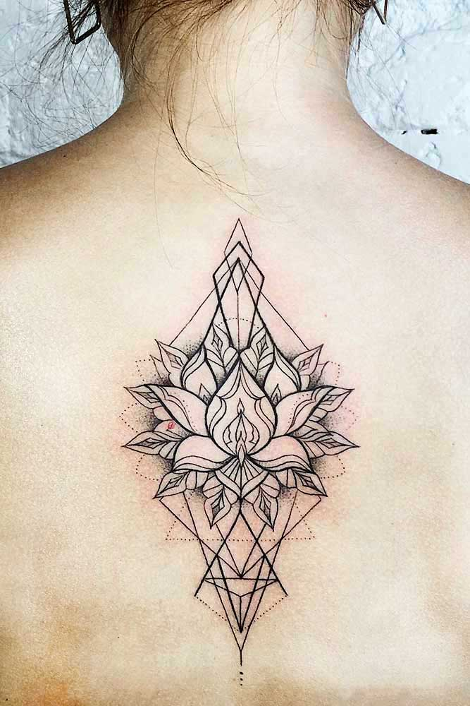 Flower Lotus Tattoo Designs On A Back Picture 2