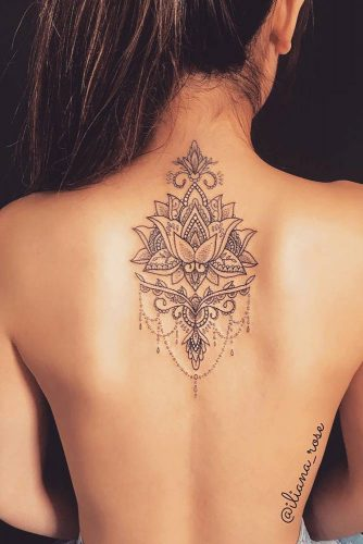Flower Lotus Tattoo Designs On A Back Picture 5