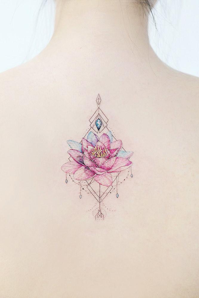 Beautiful Pink Lotus Tattoo Flower #backtattoo #geometrictattoo