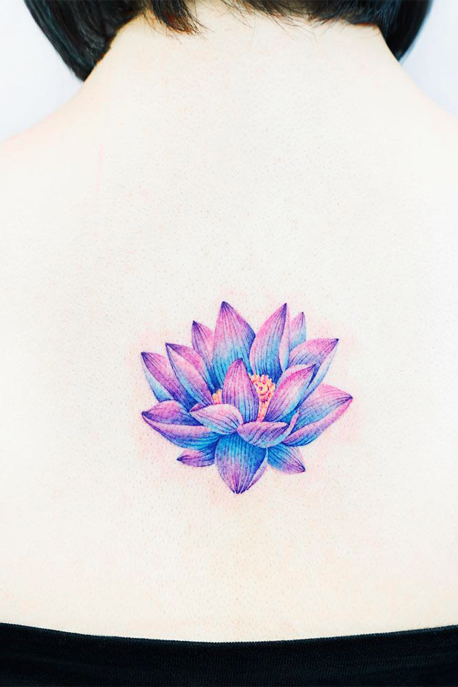 Flower Lotus Tattoo Designs On A Back Picture 4