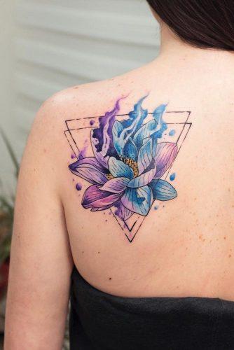 Galaxy Lotus Tattoo On A Back #geometrictatto #watercolortattoo