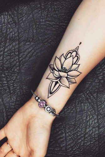 Wrist Lotus Tattoo With Dotwork Elements #wristtattoo