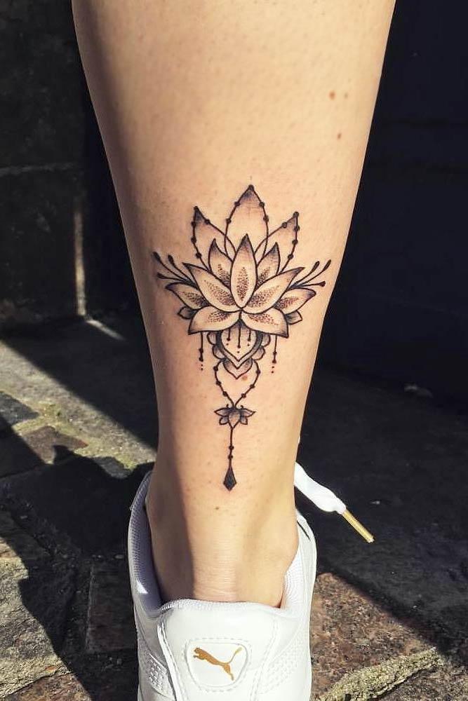 Lotus Flower Tattoo Design On A Leg #legtatto