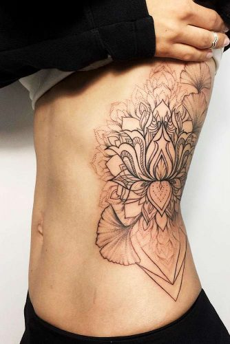 Lotus Tattoo On A Side Picture 2