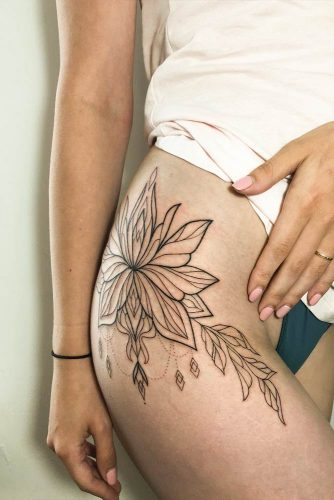 Linework Tattoo With Lotus Flower
