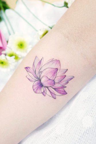 Cute Purple Lotus Flower Tattoo #watercolortattoo #purpletattoo