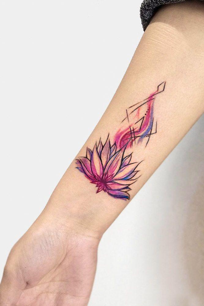 Watercolor Outline Lotus Tattoo #watercolortattoo
