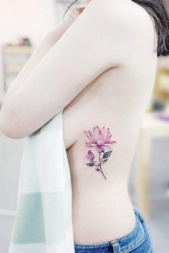 Lotus Flower Side Tattoo #sidetattoo #uniquetatto