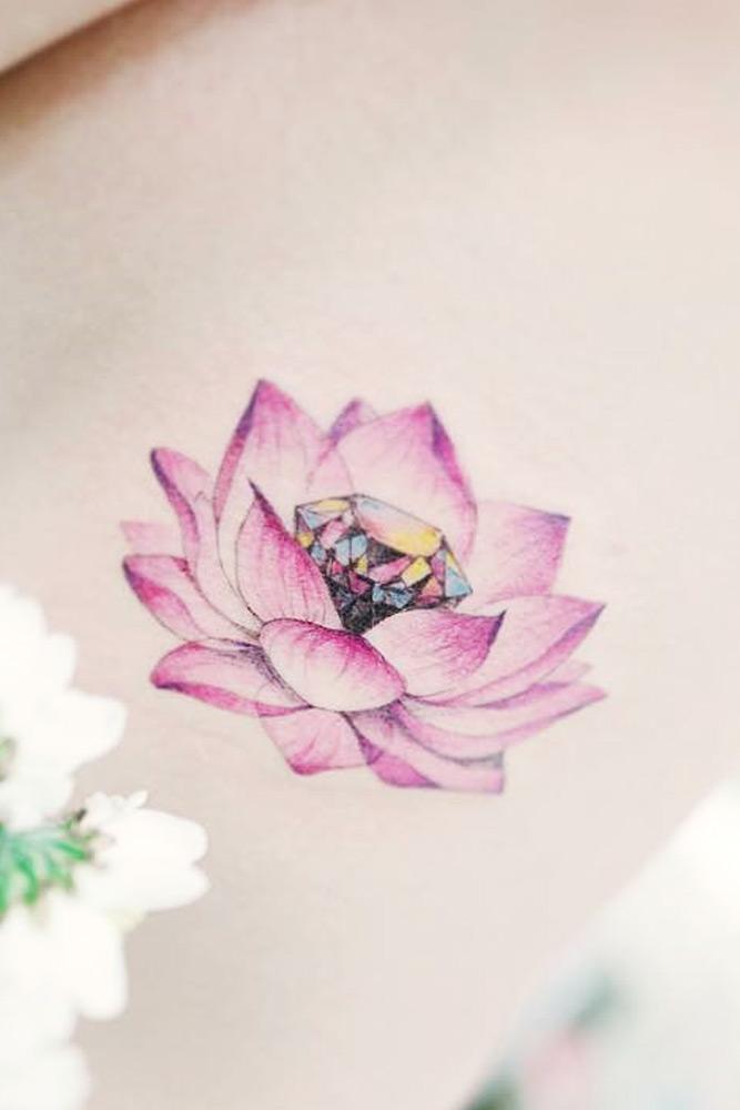 Beautiful Lotus Flower Tattoo With A Diamond #purplecolor #diamondtattoo