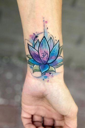 Watercolor Wrist Lotus Flower Tattoo #watercolortattoo #wristtattoo