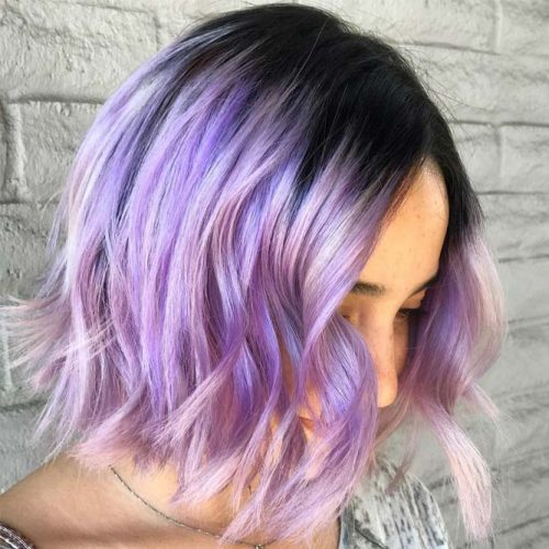 Light Lavender Ombre With Dark Roots #ombre #messybob