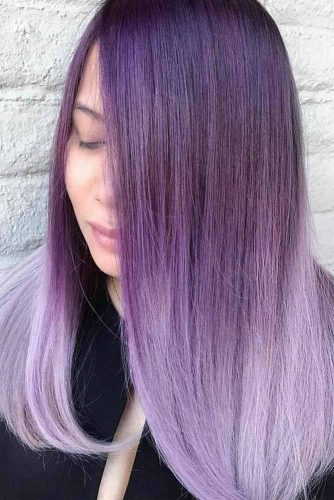 Purple Ombre Hair Style #ombrehair #straighthairstyle