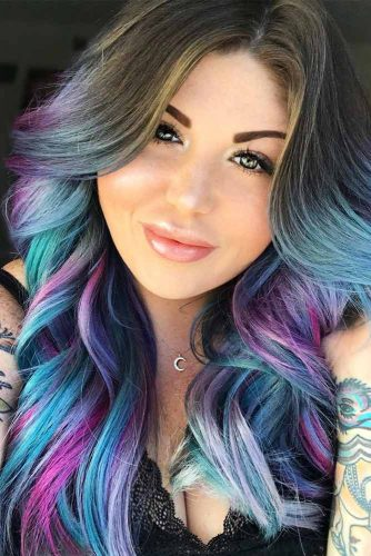 Mystic Sky Blue To Purple Hair Colors