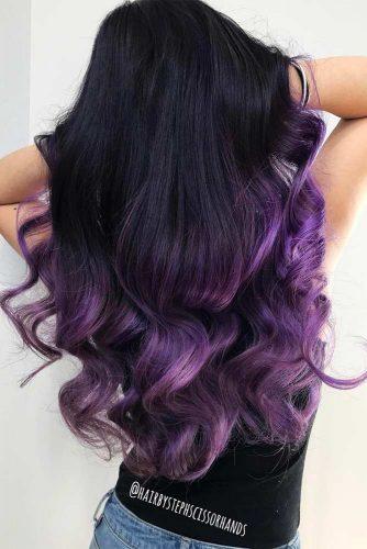 Deep Purple Highlights in Black Hair