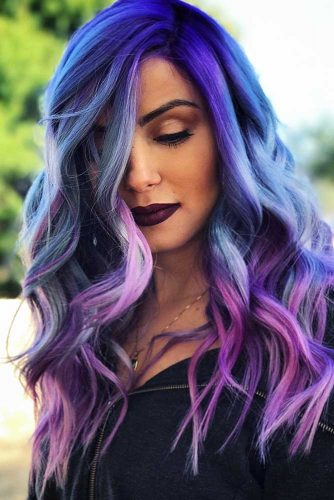 Shock Blue And Purple Colored Long Wavy Hair