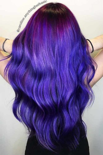 Inverted Purple To Blue Ombre Hair