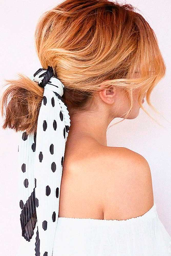 Ponytail With Kerchief #ponytails #blondehair