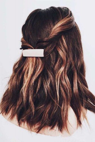 Twisted Hal-UpHairstyles #highlightshair #brownhair