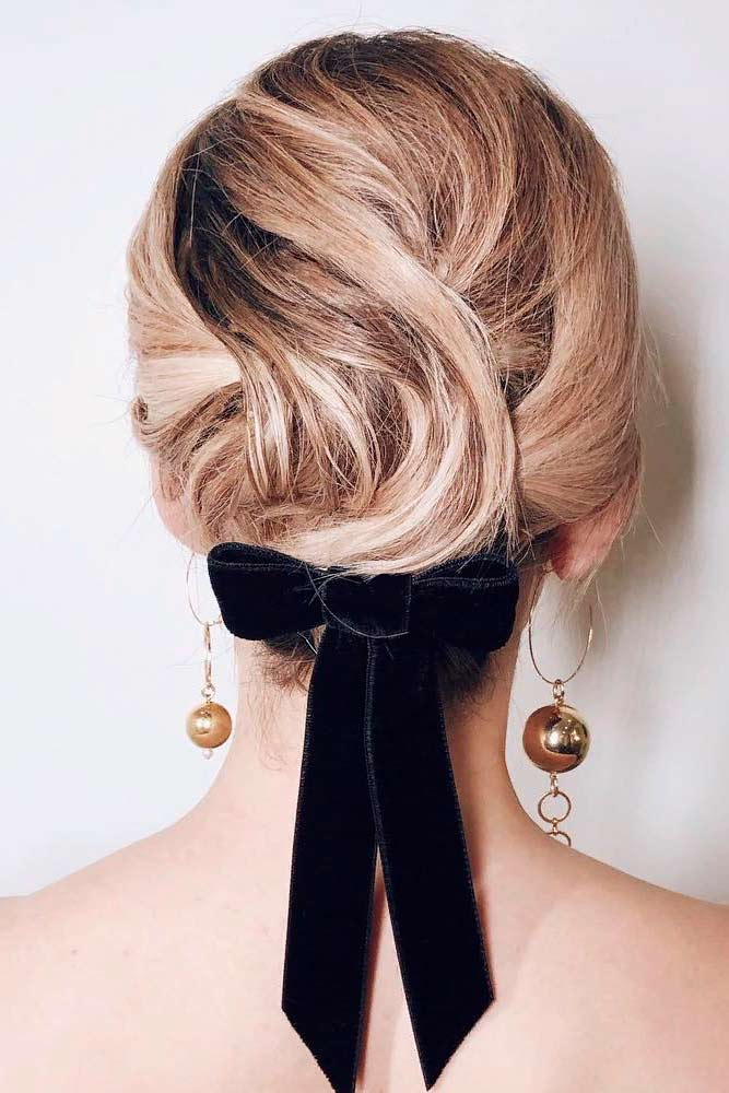 Easy Updo With Bow #updohairstyles #blondehair