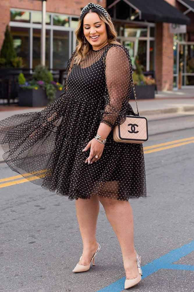 Black Plus Size Dress With White Polka Dots #polkadotsdress