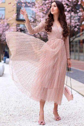 Midi Pastel Spring Dress With Long Sleeves #longsleeves