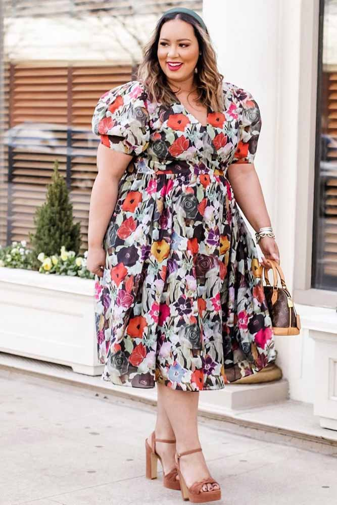 Floral Tea Length Dress Design #floraldress #plussize