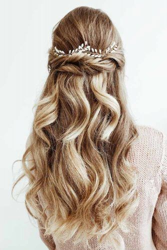 Half Up Half Down Hairstyle With Accessory #halfuphalfdownhairstyle