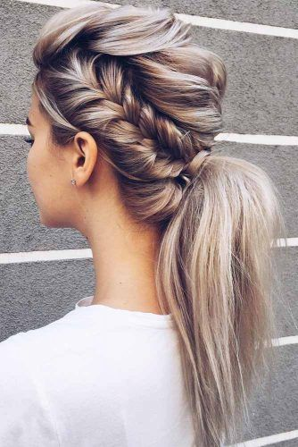 Low Ponytail With Side Braid Hairstyle #ponytail #sidebraid