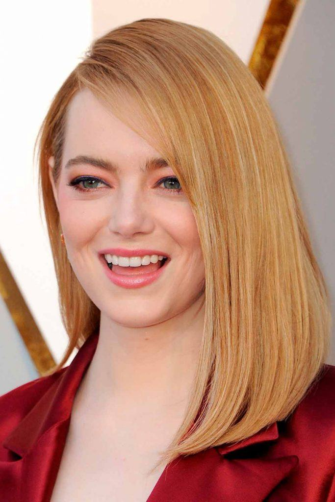 Emma Stone's Medium Strawberry Blonde Hair #emmastone #straighthair
