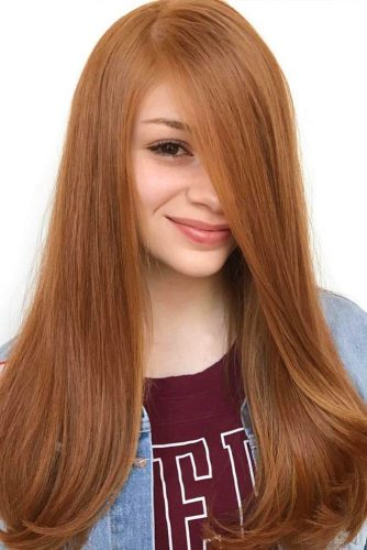 Long Side Part Strawberry Blonde Hairstyle #longhair #straighthair