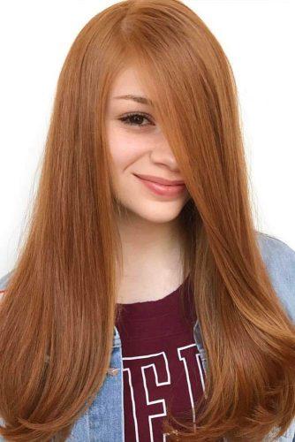 Long Side Part Strawberry Blonde Hairstyle #longhair #straighthair