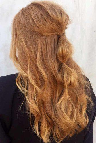 Half Up Half Down Strawberry Blonde Hairstyle #halfuphalfdownhair #bubblebraid #longhair
