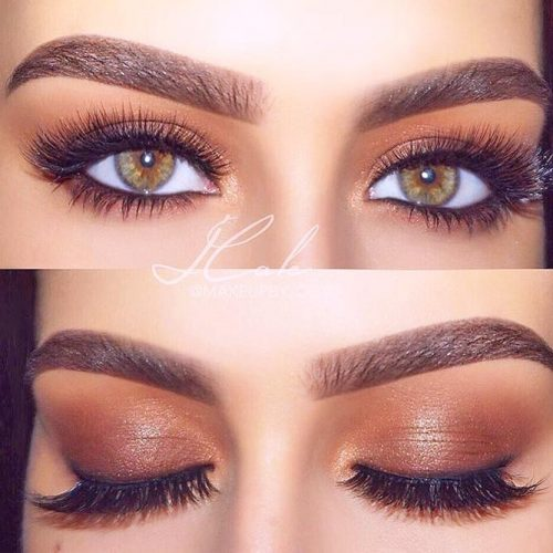 Shimmer Brown Smokey Eyes Makeup #eyemakeup