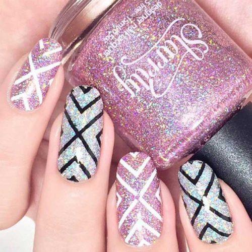 Glitter Chevron Nail Design #glitternails