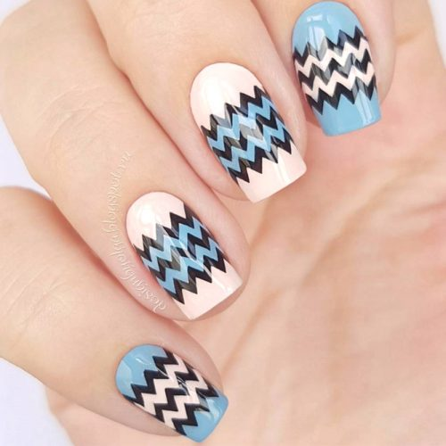 Peach And Blue Nails With Chevron Art #peachnails