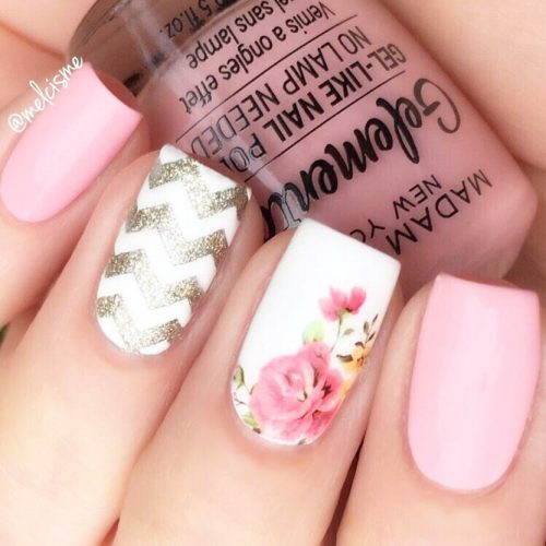 Pink Nails With Pattern Accent #flowers #glitter