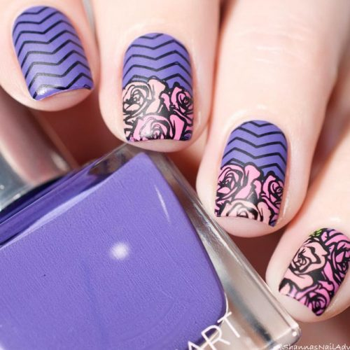 Cevron Nails Design With Flower Pattern #mattenails #flowerart