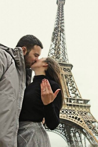 Gentle Emotional Engagement Photo: Romantic Paris #couple #hug #kiss #romantic