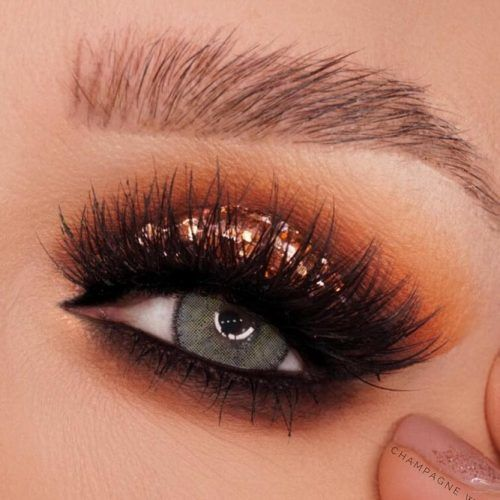 Glam Glitter Smokey For Gray Eyes #goldglitter