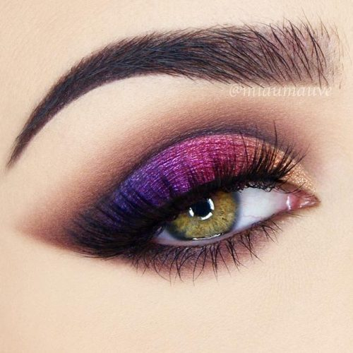 Purple Smokey Makeup Idea For Green Eyes #greeneyes #purplesmokey