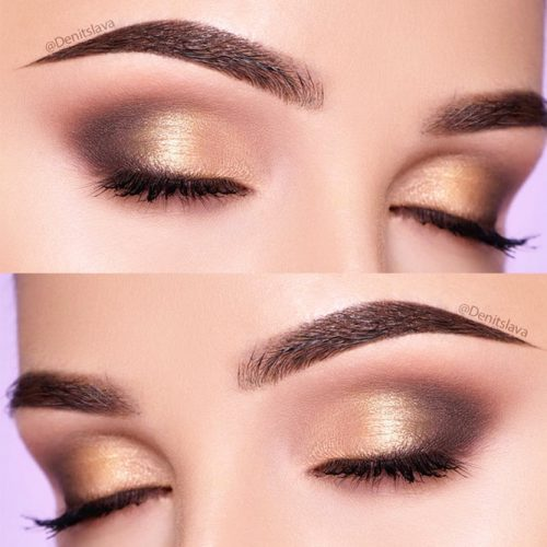 Gold Shimmer Makeup Idea #shimmersmokey