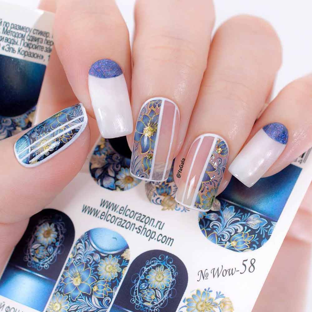 Negative Space Flowers Nail Design  #nagativespacenails #coolnails
